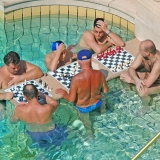 The well-known  Turkish bath's chess players - Turkish Thermal Bath